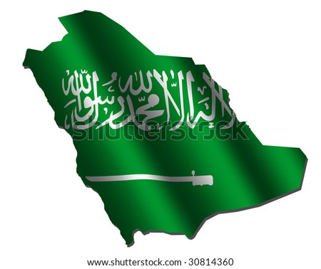 Saudi Arabia map with rippled flag on white illustration