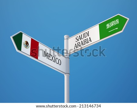 Saudi Arabia Mexico High Resolution Sign Flags Concept