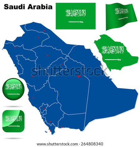 Saudi Arabia set. Detailed country shape with region borders, flags and icons isolated on white background. - stock photo