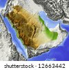 Saudi Arabia. Shaded relief map. Surrounding territory greyed out. Colored according to elevation. Includes clip path for the state area. - stock photo
