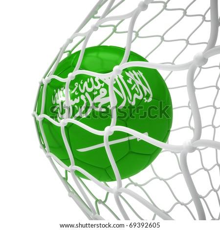 Saudi Arabian soccer ball inside the net isolated on white - stock photo