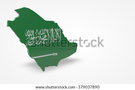 Saudi flag 3d perspective view isolated