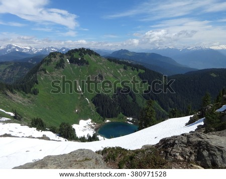 Sauk Lake and North Cascades - stock photo