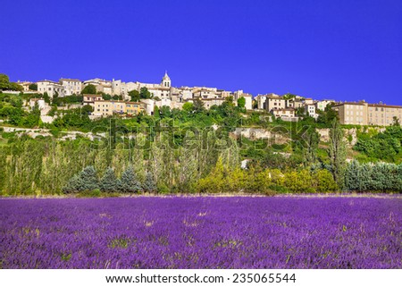 Sault town in Provence and blooming lavande fields - stock photo