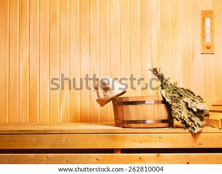 sauna accessories in wooden sauna - stock photo