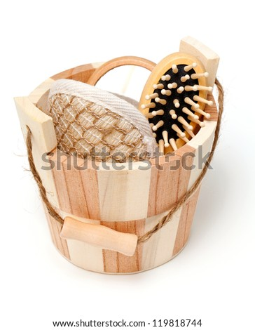 sauna bucket with tools isolated on white background - stock photo