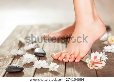 Sauna, Human Foot, Health Spa. - stock photo