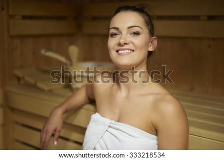 Sauna is my favorite leisure activity  - stock photo
