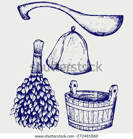 Sauna ready accessories - broom, bucket, hat and scoop. Doodle style. Raster version - stock photo