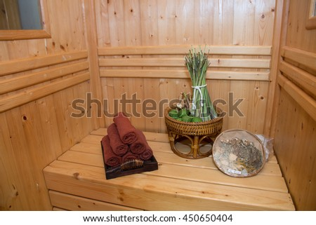 sauna room with thai herb, Thai style massage and spa - stock photo