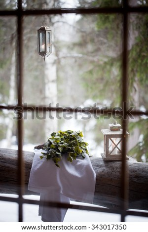 Sauna time with finnish vihta - stock photo