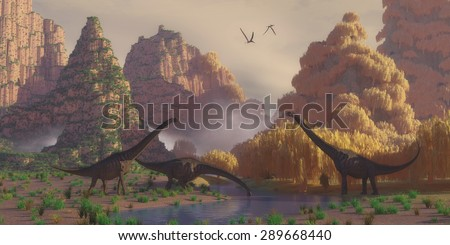 Sauroposeidon Dinosaurs - A herd of Sauroposeidon dinosaurs stop at a river to drink as Pterodactylus reptiles fly over. - stock photo