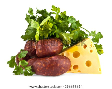 sausage and cheese on white background - stock photo