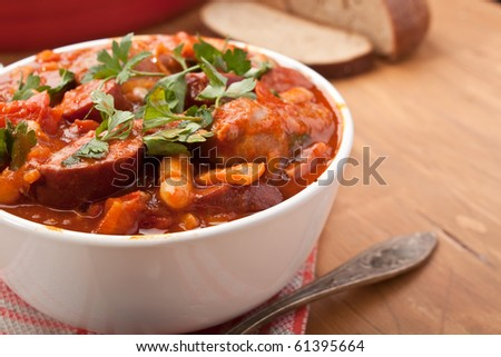 sausage, chorizo and bean stew - stock photo