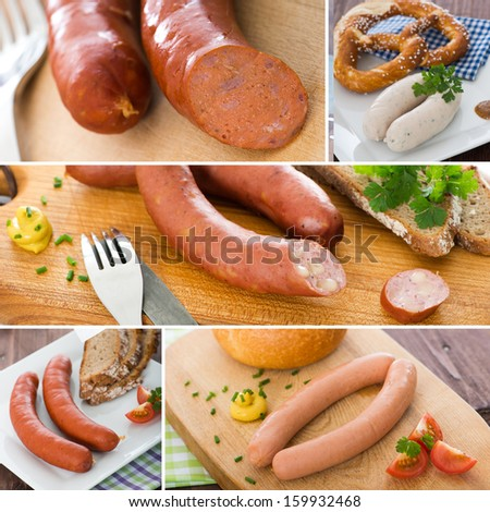 Sausage - Collage - stock photo