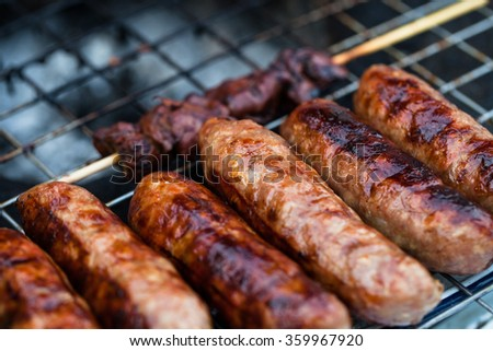 Sausage East on grill
