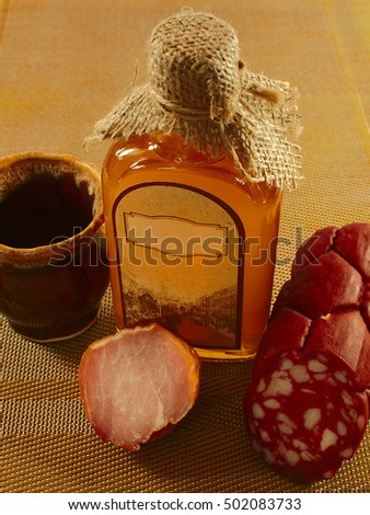 sausage, meat, vodka made from honey, ancient drink