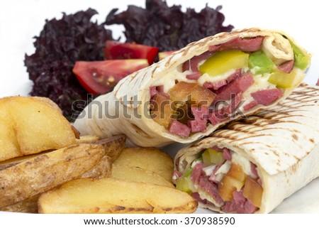sausage sandwich wraps on a white background - stock photo