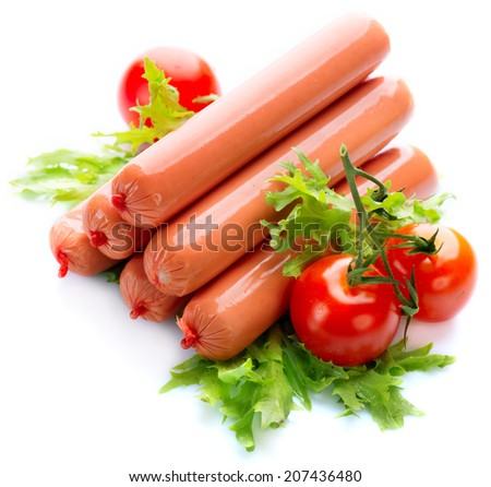 Sausage. Sausages isolated on a white background - stock photo