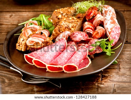 Sausage. Various Italian Ham, Salami and Bacon. Meat Food - stock photo