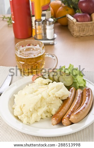 sausages and mashed potatoes - stock photo