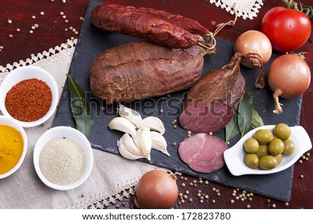 Sausages mix in a Portuguese tradicional ambient