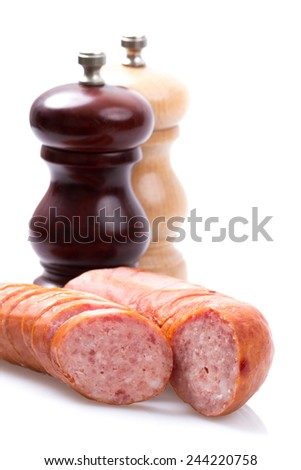 sausages on white isolated  - stock photo