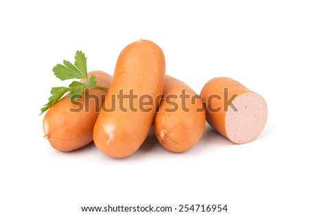 Sausages with parsley isolated on white background