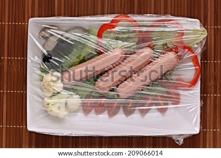 sausages with vegetables fast food delivery - stock photo