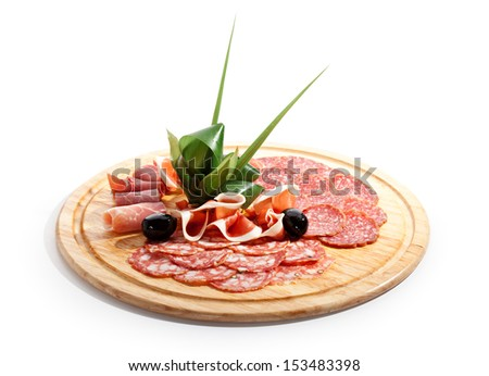 Sausages Wooden Plate - stock photo