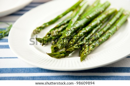 Sauteed Organic Asparagus - stock photo