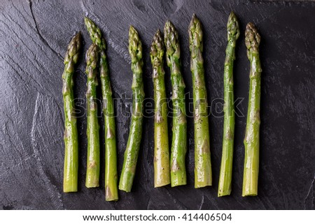 Sauteed Organic Asparagus with Herbs and Garlic - stock photo