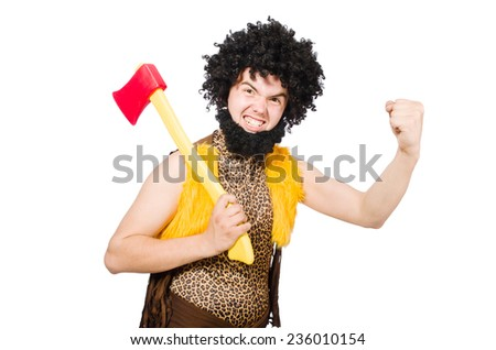 Savage man isolated on white - stock photo