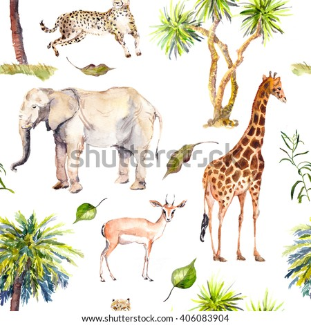 Savannah animals (giraffe, elephant, cheetah, antelope) with palm trees. Zoo seamless pattern. Watercolor - stock photo