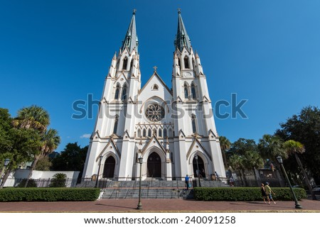 SAVANNAH, GA, USA OCTOBER 12: Cathedral of St. John the Baptist on October 12, 2014 in Savannah, GA. This Roman Catholic cathedral was completed in 1896.