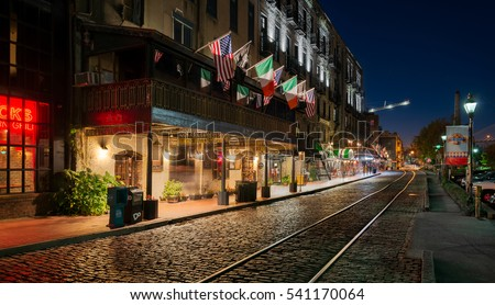 SAVANNAH, GEORGIA - NOVEMBER 14: River Street at night on November 14, 2016 in Savannah, Georgia