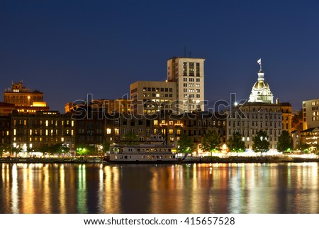 Savannah, Georgia skyline along the riverfront - stock photo
