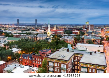 Savannah, Georgia, USA downtown skyline. - stock photo