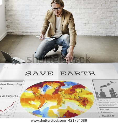 Save Earth Environment Conservation Protection Concept - stock photo