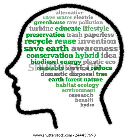 Save earth in word collage - stock photo