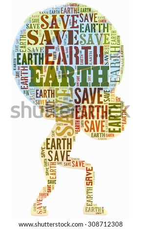 save earth in word collage. save earth concept - stock photo