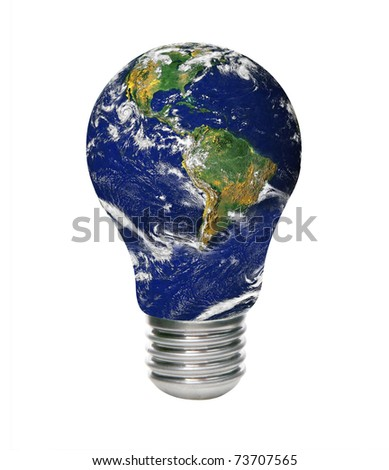 Save energy. Concept image with Earth and lamp bulb isolated. - stock photo