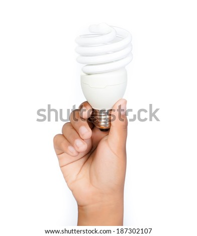 save energy lamp hand isolated.