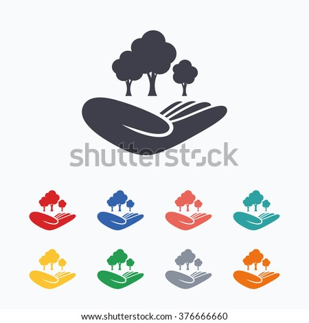 Save forest sign icon. Hand holds tree symbol. Environmental protection symbol. Colored flat icons on white background.