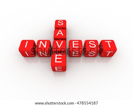 save invest crossword on white background, 3D rendered illustration