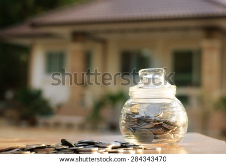save money bank with home, Saving for buy home concept - stock photo