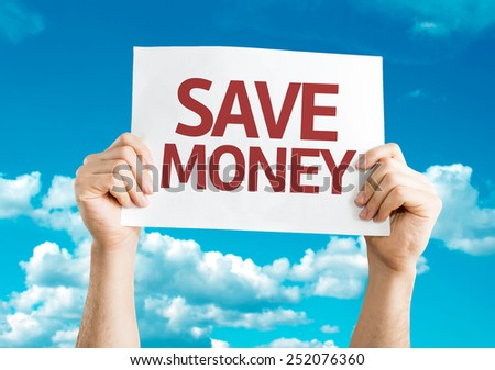 Save Money card with sky background - stock photo