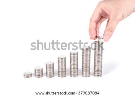 save money everyday, seven coins stacks referring to days in week, increasing as a graph isolated on white background