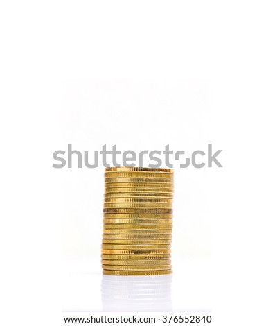 save money for investment concept,Stack of coins isolated - stock photo