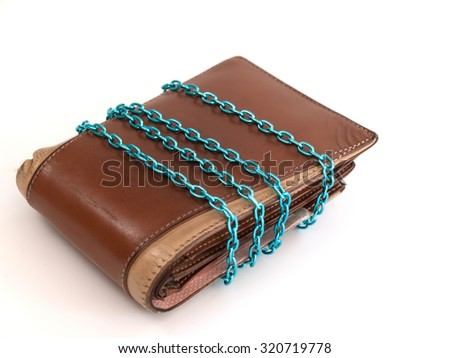 Save money in the wallet ,To cut costs Collect funds - stock photo